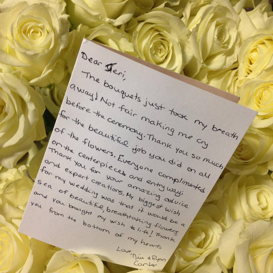 Hand Written Thank You Notes From Our Happy Brides