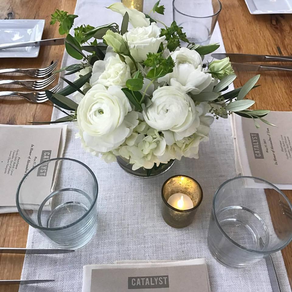 Spring Wedding Reception Floral Centerpieces - Catalyst Restaurant
