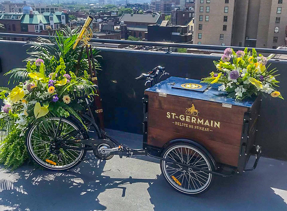Photograph of Custom Floral Design for St Germain Drinks event at the Revere Hotel Boston