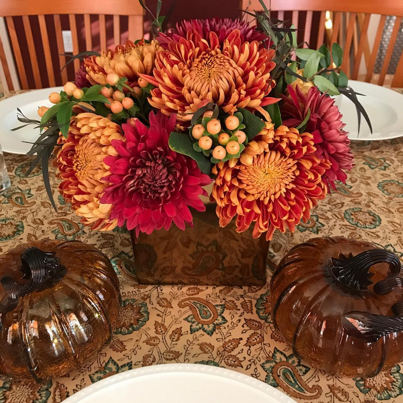 Photograph of Fall floral design arrangement for Thanksgiving table