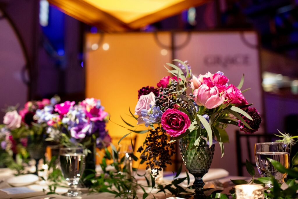 Photograph of custom floral designs for destination wedding in Maine