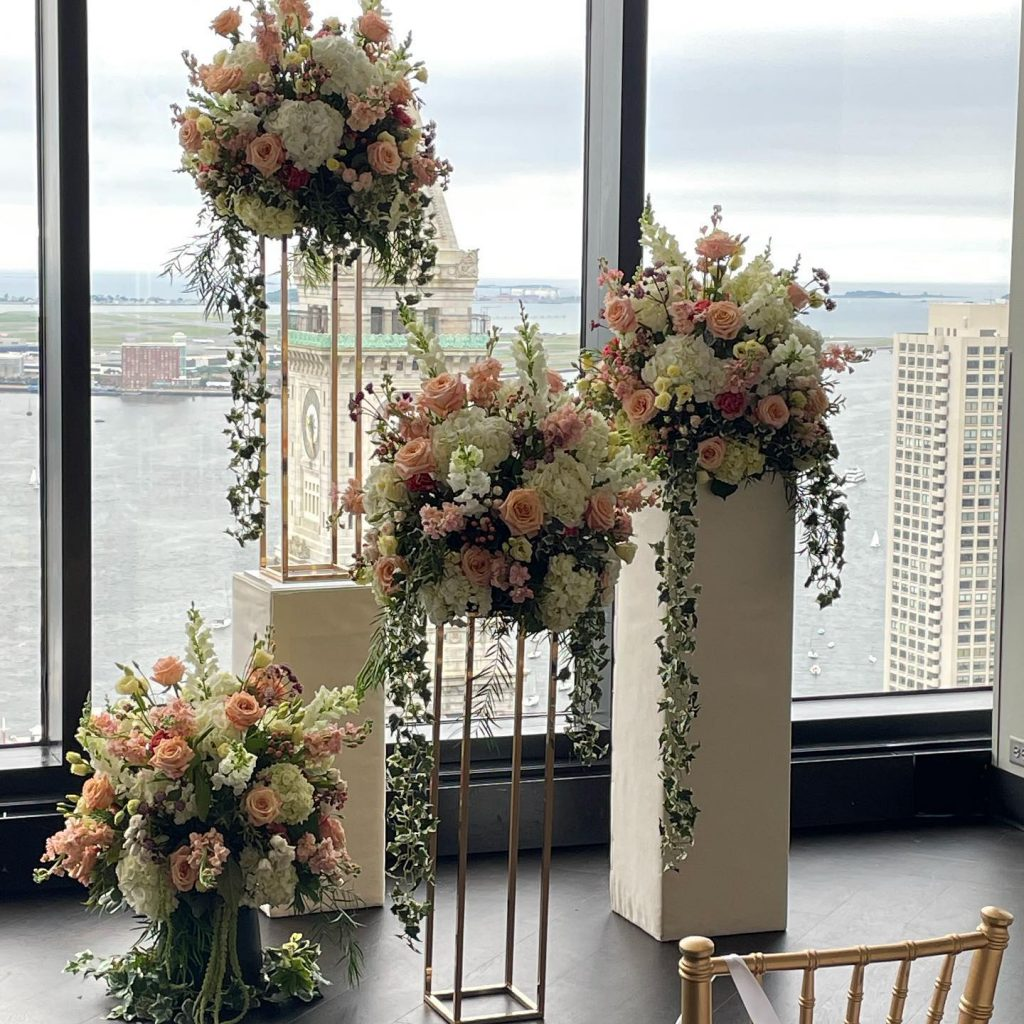 Photograph of Summer wedding flowers at the State Room in Boston